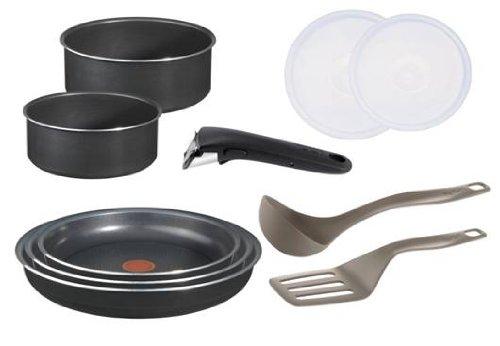 Tefal Ingenio 5 L0369602 Küchen-Set, Antihaftbeschichtung, Aluminium, Schwarz, 10-teilig