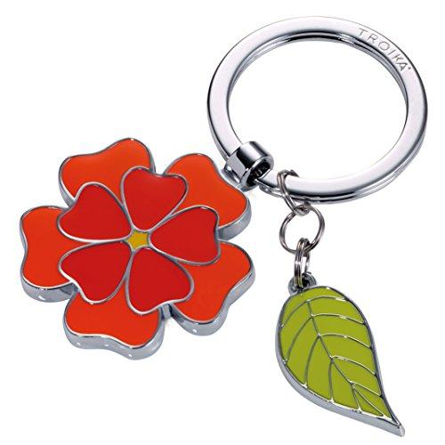 TROIKA Fleur - KR17-06/OR - Schlüsselanhänger mit 2 Anhängern - Blume, Blatt - Frühling - floral - weiblich - glänzend - orange - das ORIGINAL