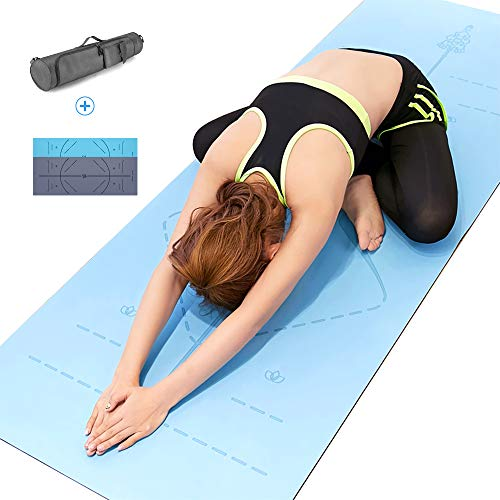 Yoga Mat, Non Slip Fitness Exercise Mat with Body Alignment System, Natural Rubber+PU Leather Workout Thick Mat with Carrying Bag for Yoga, Pilates, Gymnastics -183cmx68cmx0.5cm-Blue