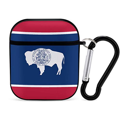 Protective Cover Case for AirPods, Wyoming State Flag Print Apple Bluetooth Headset Cover Shock Proof Anti-Scratch Compatiable for Airpods 1st/2nd for Men Women