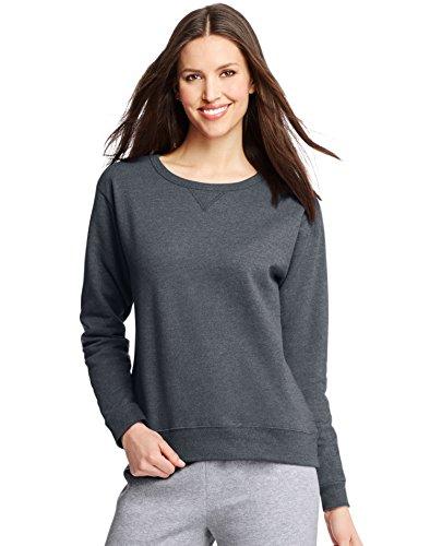 Hanes Women's EcoSmart Crewneck Sweatshirt, Slate Heather, Medium