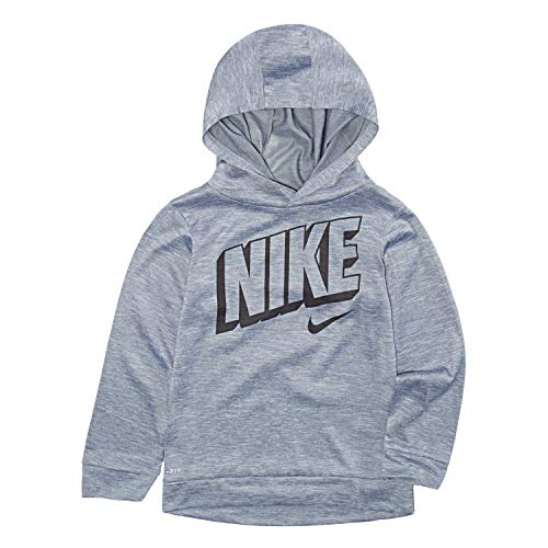 Nike Children's Apparel Boys' Toddler Long Sleeve Hooded T-Shirt, Wolf Grey Heather, 2T