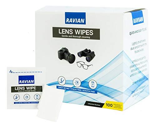 Toallitas limpiadoras de gafas, 100 toallitas antibacterianas multiusos envueltas individualmente, adecuadas para lentes de gafas,