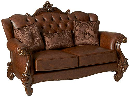 ACME Versailles Light Brown Faux Leather Loveseat with 3 Pillows