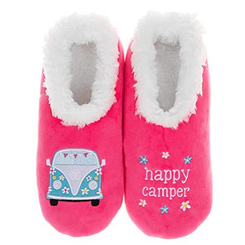 Snoozies Pairables Superweiche Sherpa Damen Hausschuhe – Happy Camper, Pink - rose - Größe: Small