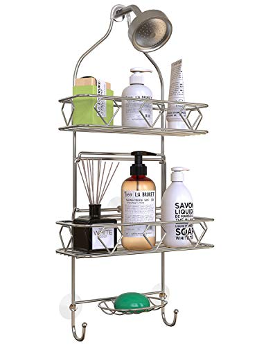 Upgraded! GeekDigg Bathroom Hanging Shower Head Caddy Organizer, Three Tier, Rust Proof Premium Hanger Design With Suction Cups, Hooks, Bath Room Caddies Hang on Showers Head, Shower Organizer, Silver