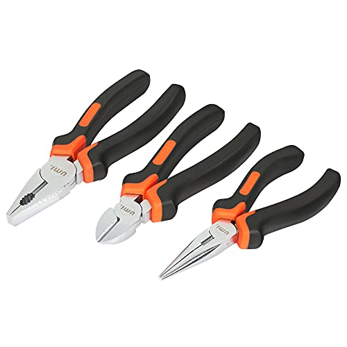 Amazon Brand – Umi Pliers Set 3-Piece, Including 6'' Long Nose Plier, 6'' Side Cutter, 7'' Combination Plier, with Soft Handles