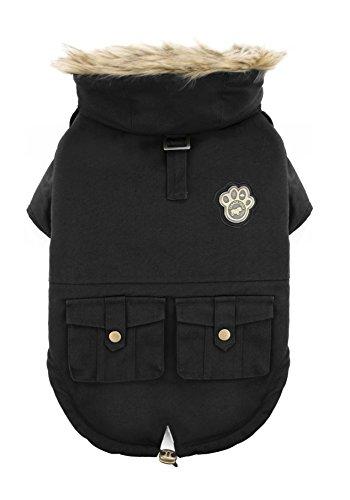 Canada Pooch Parka/Jacke für Hunde, Armeedesign, Größe 18 W, Schwarz