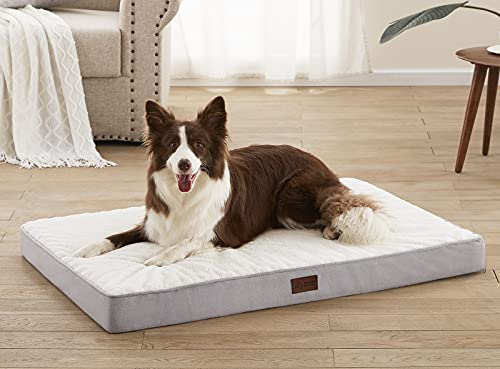 WESTERN HOME Dog Beds for Large Dogs, Large Dog Bed with Removable Washable Cover Waterproof Layer, Orthopedic Pet Bed Crate Mat with Egg Foam Anti-Slip Bottom, 36 inches, Grey