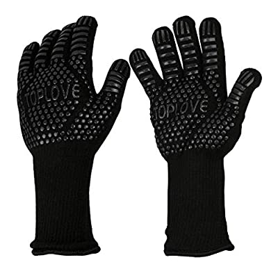 ASKALI BBQ Cooking Gloves Heat Insulated Grill Glove - Kitchen Potholders Protective Oven Mitt, 932? Extreme Heat Resistant Grilling Glove for Baking - Heatproof Adiabatic Silicone Glove, 1 Pair