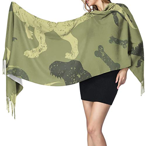 Womens Warm Long Shawl Wraps Large Scarves,Seamless Camouflage Dino Knit Cashmere Feel Scarf for Christmas