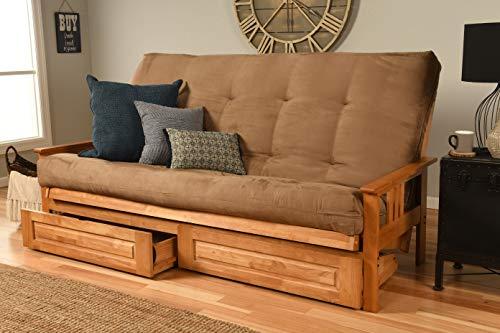 Kodiak Furniture Monterey Queen-size Futon, Storage Drawers, Butternut Finish with Suede Peat Mattress