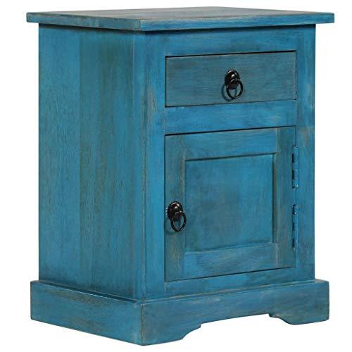 vidaXL Legno Massello di Mango Comodino 40x30x50 cm Blu Armadietto Cassettiera