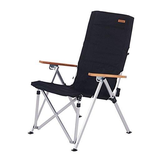 HM&DX Portable Chaises Pliantes exterieures Chaises de Camping Pliantes Dossier réglable Lumière Chaise de Plage Pliante Heavy Duty pour Jardin Camping pêche randonnée Picnic -Noir