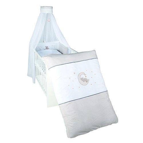 roba Parure de lit pour enfant « Happyfant' », parure de lit 100 x 135 cm (couette et coussin), tour de lit, ciel de lit, multicolore, 4 pièces