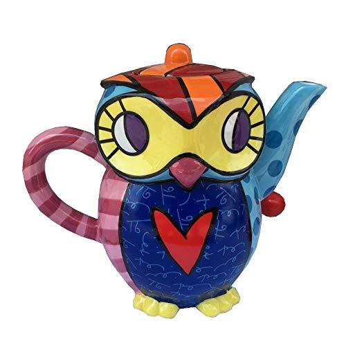 Hokaime Juego de té de Tetera Pintada de búho de diseño único de Tetera de cerámica, Adecuado para infusión de té Suelto o té en Bolsas, Adornos de decoración del hogar, 2000 ml