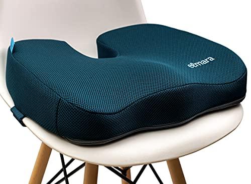 Elmara Orthopedic Coccyx Seat Cushion Office Chair Cushion, Memory Foam Car Seat Cushion for Back Pain, Ergonomic Desk Chair Cushion for Tailbone, Sciatica Pain Relief, Wheelchair Cushion (DarkTeal)