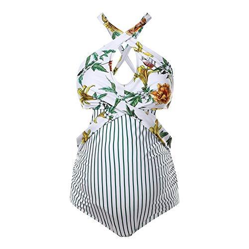 IBTOM CASTLE Umstands-Tankini Schwangerschafts Badeanzug für Schwangere Damen Blumenmusterdruck Volants eine Schulter Einteiler Umstandsbademode UV-Schutz Mutterschaft Frauen Gelb XL