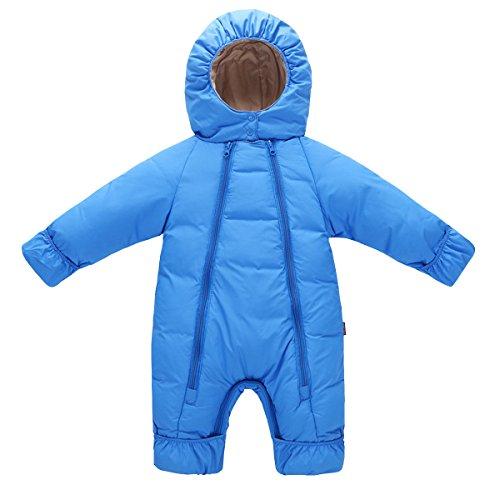 AHATECH Bébé Combinaison Hiver Chaude Grenouillères Bébé Garçon Fille Barboteuse à Capuche Unisexe -Bleu