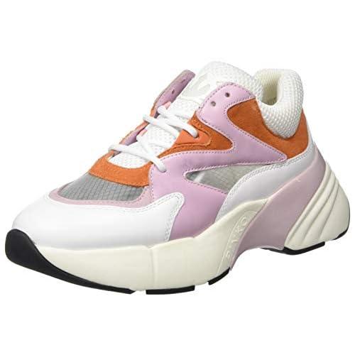 Pinko Maggiorana, Sneaker Infilare Donna, Multicolore (Bianco/Rosa/Arancio Zkl), 41 EU