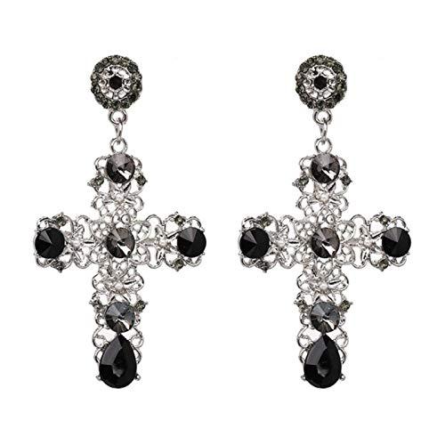 LIUL Pendientes Colgantes de Cruz de Cristal Bohemio Vintage para Mujer Pendientes Largos Grandes Bohemios barrocos, C2409SV