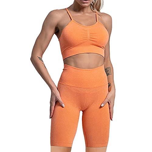 Conjunto de 2 piezas de chándal sin costuras de cintura alta pantalones cortos polainas y sujetador deportivo trajes de yoga, naranja, M/3XL