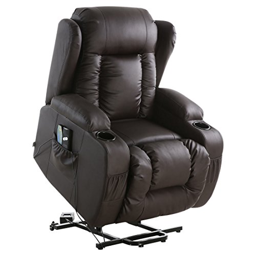 More4Homes CAESAR ELECRTIC RISE RECLINER MASSAGE HEAT ARMCHAIR SOFA LOUNGE BONDED LEATHER CHAIR (Brown)
