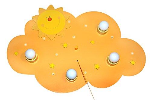 Waldi Leuchten Deckenleuchte Wolke Sonne 4-flammig inklusive LED Lichterkette, gelb WAL-66103.0