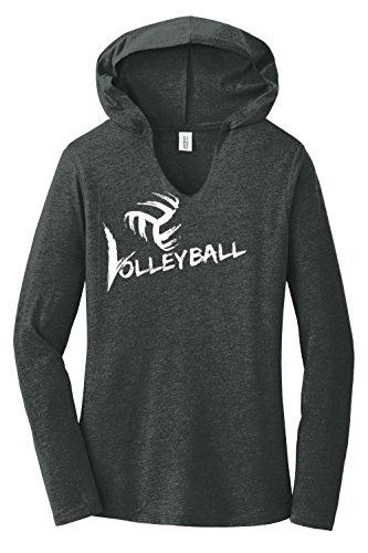 Volleyball Hooded Long Sleeve Tee (Medium, Black Frost)