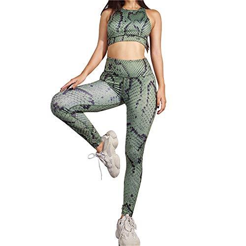 Mooyii Frauen Sexy Schlange Druck Sport Anzug Fitness Trainingsanzug Sport Athletic Gym Workout Jogger Sportwear Sexy Tanks Tops + Hohe Taille Leggings 2pcs / Set