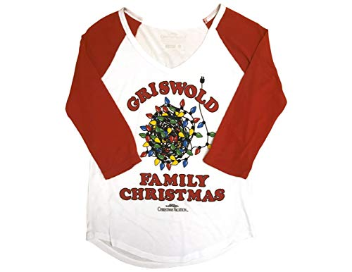 Ripple Junction National Lampoon's Christmas Vacation Juniors Griswold Xmas Light Light Weight V-Neck Raglan T-Shirt MD White/Red