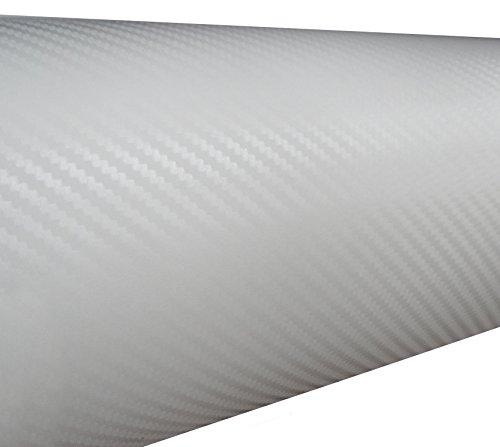 Aerzetix: 127/75cm Film adhésif Vinyle Fibre de Carbon Blanc thermoformable C17210