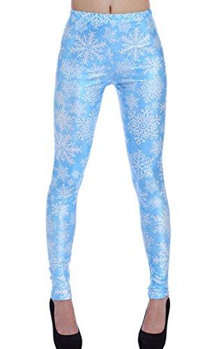 DELEY Damen Mädchen Kreative Mode Gestaltung Leggins Enge Hosen Stretch Strumpfhose Leggings Schneeflocke