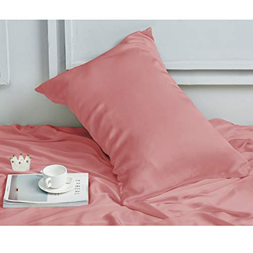 """INSSL Silk Pillowcase for Women, Mulberry Silk Pillowcase for Hair and Skin and Stay Comfortable and Breathable During Sleep. (Coral, 20""""×26"""")"""