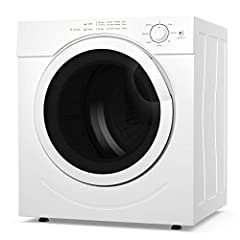 【POWERFUL DRYING PERFORMANCE】Costway electric compact laundry dryer has the performance and innovative technology that guarantees faster drying time than other dryers in the market. Thanks to its 1500 watts of drying power with powerful 110V and 60Hz...