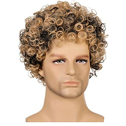 XIURAB Men's Curly Wig, Suitable for Parties, Role Playing