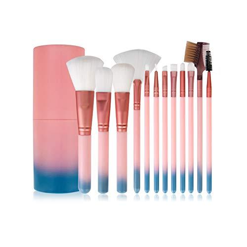 Make-up-Pinsel-Set, 12-teiliges Make-up-Pinsel-Set, Pinsel für losen Puder, Lidschatten, tragbarer Kunststoff-Zylinder, professionelle Make-up-Pinsel, essentielle Kosmetik, mit Etui, Pink-Blau