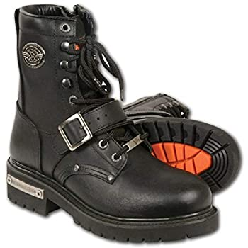 Milwaukee Leather MBM101 Men s Black Lace-Up Engineer Boots with Side Zipper Entry - 14