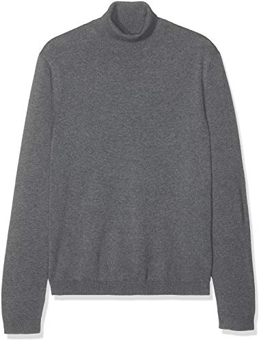 Amazon-Marke: find. Herren Pullover Cotton Roll Neck, Grau (Charcoal Grey Marl), S, Label: S