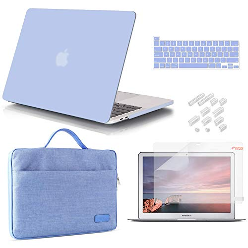 iCasso MacBook Pro 13 Inch Case 2020 Release Model A2251/A2289 Bundle 5 in 1, Hard Plastic Case, Sleeve, Screen Protector, Keyboard Cover & Dust Plug Compatible MacBook Pro 13'' - Serenity Blue