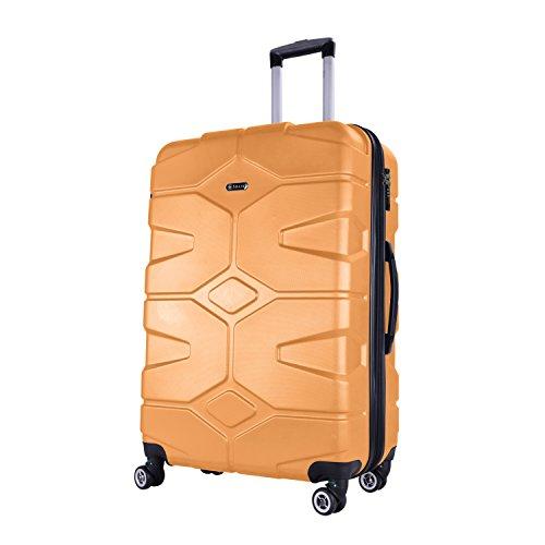 SHAIK® SERIE RAZZER SH002 DESIGN PMI Hartschalen Kofferset, Trolley, Koffer, Reisekoffer, 4 Doppelrollen, 25% mehr Volumen durch Dehnfalte (Gelb, M - Handgepäck)