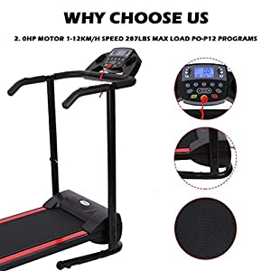 1100W Folding Treadmill Walking Machine Exercise, Treadmill Running Machine with Device Holder, Shock Absorption and Incline (Black)