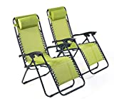 BRAVICH Weatherproof Set of 2 Reclining Sun Lounger | Heavy Duty Textoline Zero Gravity Chairs | Folding Outdoor Reclining Chair in Army Green