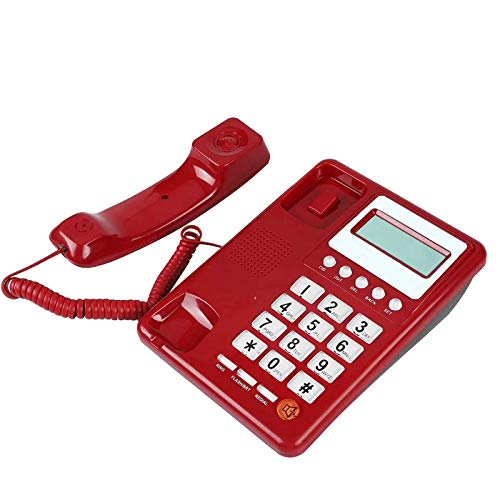 Teléfono con cable de escritorio, con Identificador de llamadas Pantalla Teléfono fijo, Teléfono fijo para Home Office Hotel, Rojo
