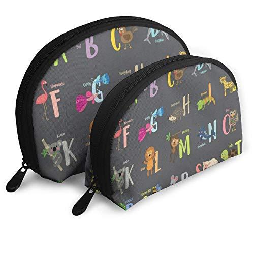 Sac de maquillage Cartoon Cute Animals Alphabet Portable Shell Storage Bag For Girls Travel Pack - 2