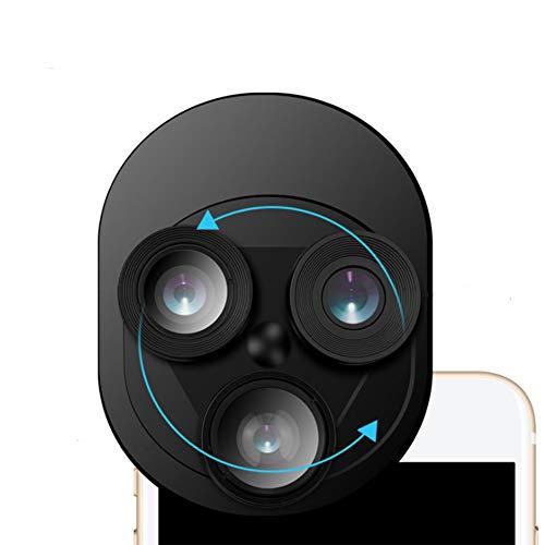 3 En 1 Lentes Para Teléfonos Móviles 20X Macro + 0.62X Lente Gran Angular +198° Fisheye Lente Para Inteligente Android Ipad,Black