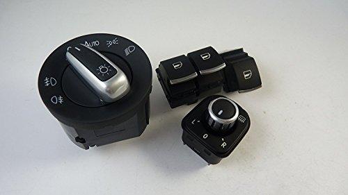 Set mit 4Schaltern für Spiegel Scheinwerfer Fenster 5k3959857 Für Golf GTI R32 Rabbit 2006 2007 2008 2009