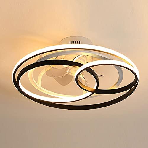 QJUZO 50W Ventilador De Techo con Iluminación LED, Anillo Blanco Y Negro Lámpara De Techo Regulable con Mando A Distancia, Silencioso Ventilador Velocidad De Viento Ajustable para Dormitorio Salón
