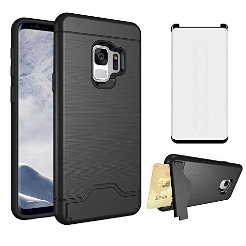 Phone Case for Samsung Galaxy S9 With Tempered Glass Screen Protector Cover and Slim Hard Wallet Credit Card Holder Stand Kickstand Hybrid Cell Accessories Glaxay S 9 Edge 9S GS9 Women Girls Men Black