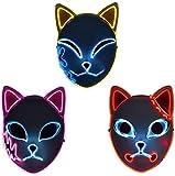 KTMAID Demon Slayer - Máscara LED japonesa para disfraz de anime y cosplay de anime, para Halloween, fiestas, juego de...